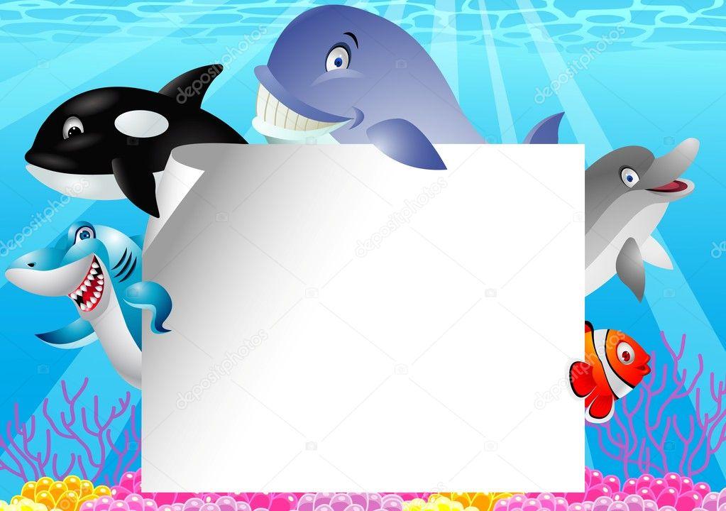 Cartone animato di vita mare con il segno bianco