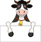 Cow cartoon With Blank Sign — Stock Vector