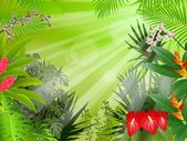 Fondo hermoso bosque tropical — Vector de stock
