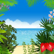 Stock Vector: Tropical beach background