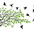 Stock Vector: Tree silhouette with bird flying