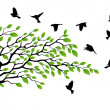 Tree silhouette with bird flying — Stock Vector