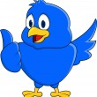 Funny blue bird showing thumb up - Stock Vector