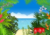 Fondo de playa tropical — Vector de stock