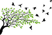 Tree silhouette with bird flying — 图库矢量图片