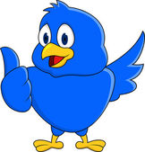 Funny blue bird showing thumb up — Stock Vector