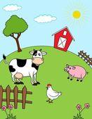 Djur på gården — Stockvektor