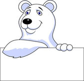 Polar bear cartoon with blank sign — Stock Vector