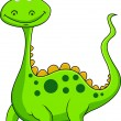 Cute green dinosaur cartoon — Stock Vector