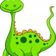 Cute green dinosaur cartoon - Stock Vector