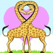Two funny giraffes in love — Stock Vector