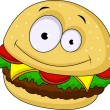Burger cartoon character — Stock Vector