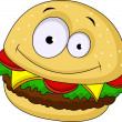 Burger cartoon character — Stock Vector