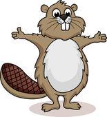 Beaver cartoon showing — Stock Vector