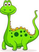 Cute green dinosaur cartoon — Stock Vector