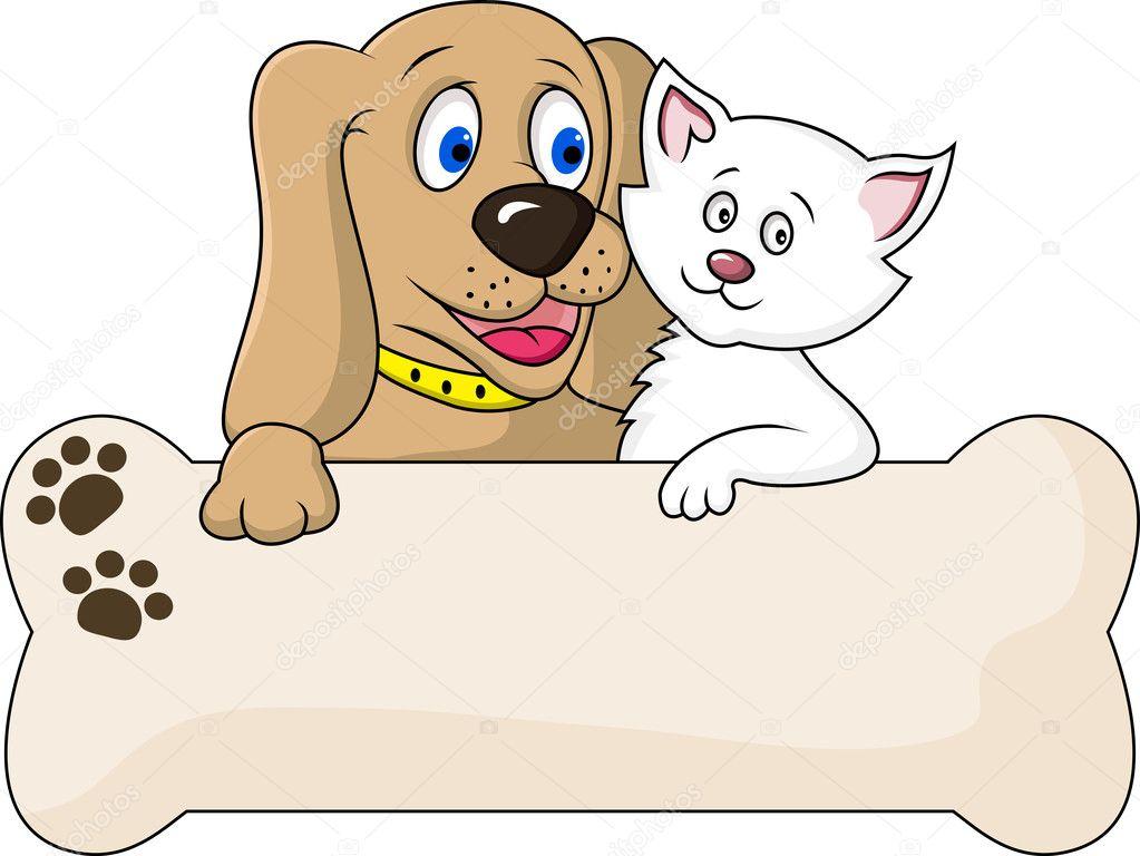 Рисунок котёнка с собаками