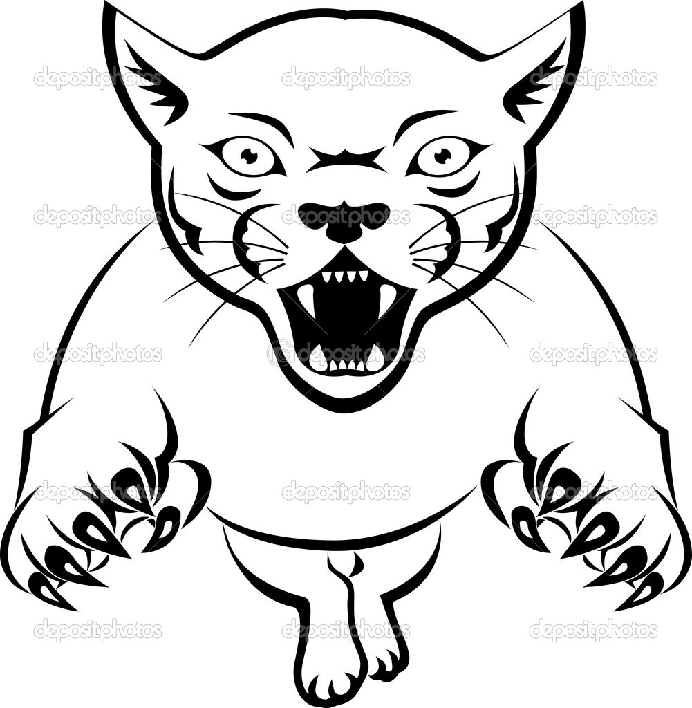 panther attacking — stock vector © idesign2000 10672172