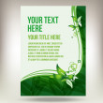 Eco green leaf flyer design — Stock Vector