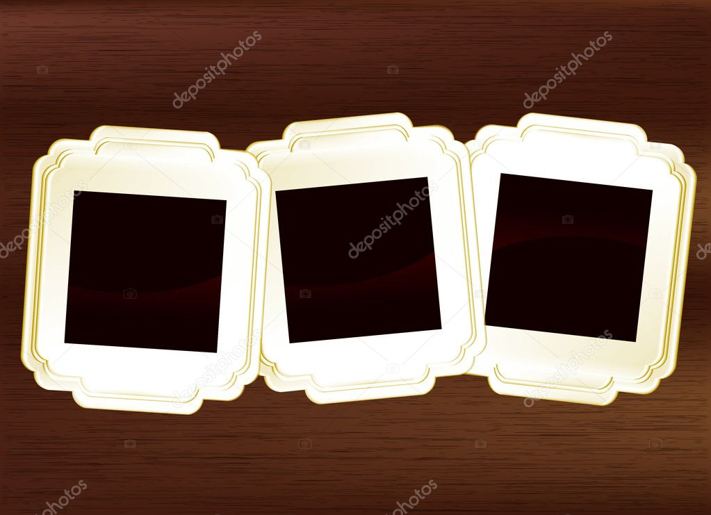 Vintage shaped photo frames set on dark wood background  Stock Vector #9745095