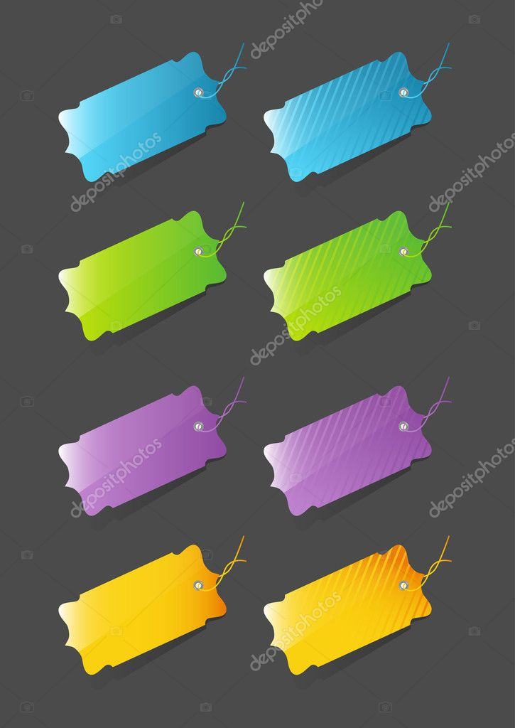 Colorful price tags isolated on dark gray background — Stock Vector #9861483