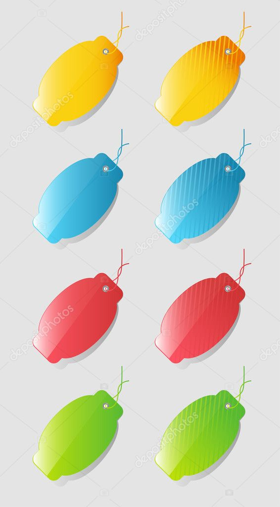 Colorful price tags isolated on gray background — Imagen vectorial #9861523