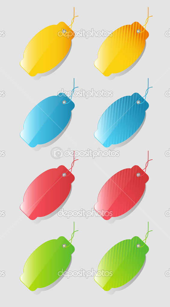 Colorful price tags isolated on gray background — Imagens vectoriais em stock #9861523