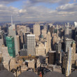 Stock Photo: New York skyline with high skyscraper infront and Central park and Hudson river in rear direction North from Empire State Building