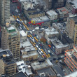 Stock Photo: View from above to street with busy trafic and lots of yellow cabs