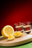 Tequila with salt and lemon — Stock Photo