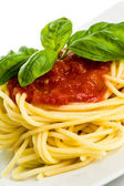 Spaghetti with tomato sauce - close up — Stock Photo