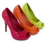 Three colour women shoe — Zdjęcie stockowe