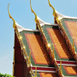 Detail of ornately decorated temple roof in bangkok — Stock Photo