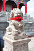 Chinese Lion Stone Sculpture in the Chinese Temple — Stock Photo