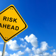 Risk ahead traffic sign on bluesky — Stock Photo #9682970