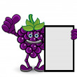 Grape Banner Thumb Up Pose — Stock Vector