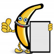 Banana Banner Thumb Up Pose — Stock Vector
