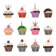 Funny Smile Cupcake for Birthday with Number Candles - Stok Vektör