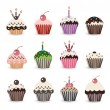 Funny Smile Cupcake for Birthday with Number Candles - Stock vektor