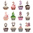 Funny Smile Cupcake for Birthday with Number Candles — Imagen vectorial