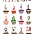 Funny Smile Cupcake for Birthday with Number Candles — Stock Vector