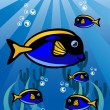 Blue Yellow fish — Stock Vector