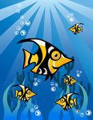 Black Yellow Fish Character — Stock Vector