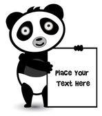 Cute bear panda banner — Stock Vector