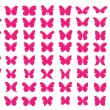 Stock Vector: Lots of butterflies - vector illustration [80 Pink Butterflies]