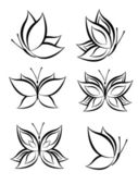 Set of Butterfly Vector — Stock Vector
