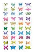 Set of multicolored butterflies - vector illustration — Stock Vector