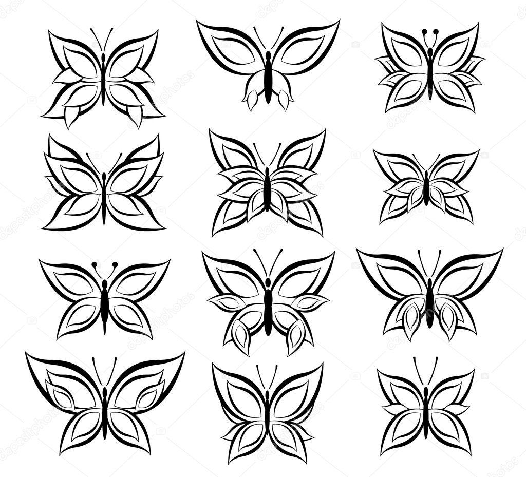 butterfly vector outline. Black Bedroom Furniture Sets. Home Design Ideas
