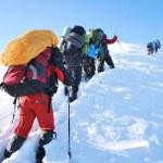Hike in winter mountain — Stock Photo