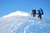 Hike in a winter mountain — Stock Photo