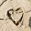 A nice sand heart in love — Stock Photo